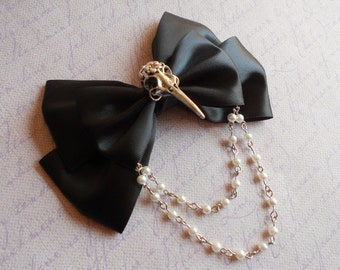 Hair bow or Brooch black bow silver bird skull Gothic lolita egl pearls