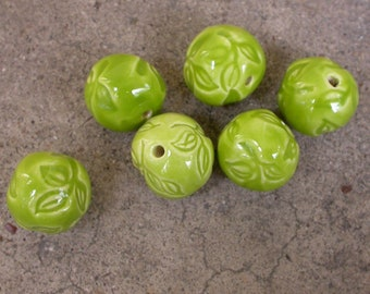 Lime Green Leaf Impressed Ceramic Round Beads, Lime Green Pottery Beads, Green handmade beads, Leaf pattern beads, nature beads, beads