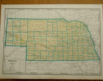 Vintage Map, Nebraska 1942 US State Atlas map, old maps make great wall art