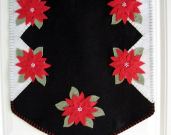 Hand Stitched Red Poinsettia Wool-Felt Primitive - Folk Art - Christmas Table Runner - Fiber Art - Holiday Decor - Wool - Wool Applique