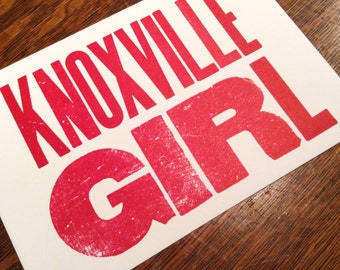 KNOXVILLE GIRL 6 hand printed letterpress mini prints post cards