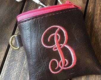 Ear Bud Pouch, Ear Bud Bag, Headphone Bag, Headphone Pouch, Vegan Embroidered Ear Bud Bag, Ear Bud Pouch, Personalized Bag, Embroidered Bag