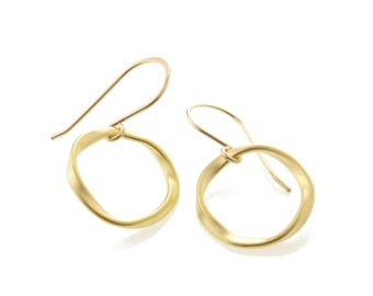 Gold Eternity Earrings, gold circle earrings, gold twisted circle, gold ring earrings, gold twisted ring, gold infinity ring