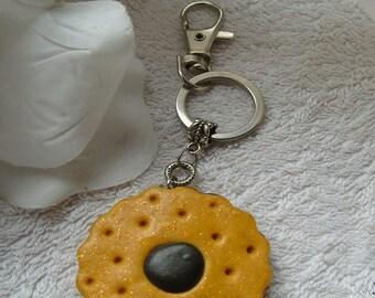 MODELAGE  BISCUIT FOURRE    bijou de sac   biscuit rond fourré chocolat pour l'embellissement de votre sac a main unique et gourmand