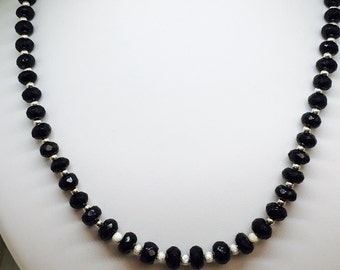 Long Black Gemstone Necklace Black Spinel Necklace Classic Jewellery Statement Necklace August Birthday Gift for Her August Birthstone Gems