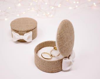 In Burlap, lid so compact, rustic wedding ring bearer box.