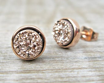 Rose gold earrings, bridesmaid gift, rose gold druzy earrings, druzy studs, great gatsby jewelry, bridesmaid jewelry, raw stone earrings