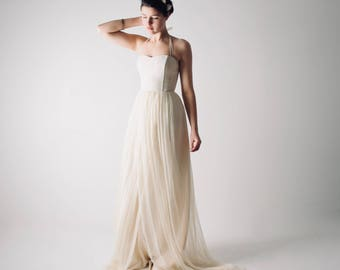 Wedding dress, Hemp wedding dress, Boho wedding dress, Simple wedding dress, Alternative wedding dress, Silk Chiffon wedding dress - TILIA