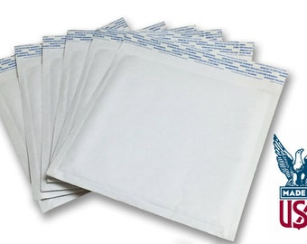 "Size #CD (7.25""x7"") White Kraft Bubble Mailer - Free Shipping!"