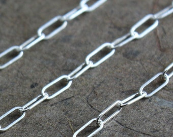 Sterling Silver Chain By the Foot - Drawn Rectangle Chain 5mm x 2mm - Select Lengths to 3 feet