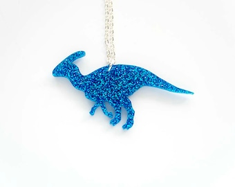 Glitter Parasaurolophus Necklace, Dinosaur Necklace, Jurassic Park, Animal Badge, Laser Cut Acrylic, Dinosaur Pendant, Bridesmaid Gift
