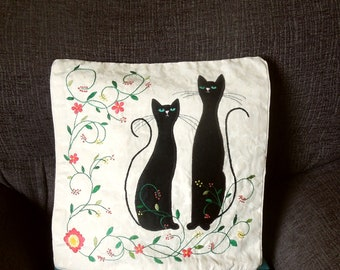 """Cats pillow, cushion cover """"Two Black Cats"""" handmade, applique, animal, pet"""