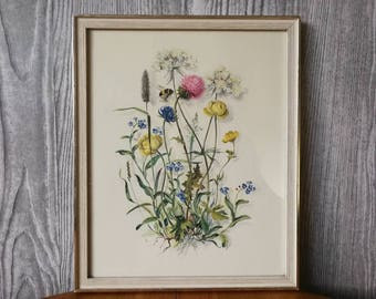 Cute framed print with wild flowers