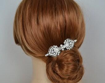 Vintage Style Filigree Bridal Rhinestone Hair Comb Swarovski Pearl - Ships in 3-5 Business Days