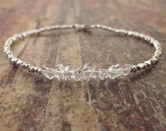 Herkimer Diamond Bracelet, Herkimer Diamond Bracelets, Womens Gift, Raw Stone Bracelet Beaded Bracelets Raw Crystal Jewelry April Birthstone