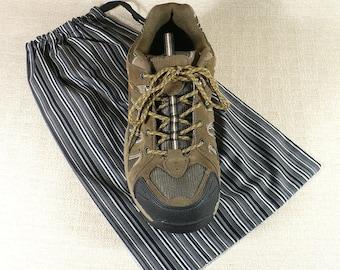 Shoe Bags, Black, Gray, Stripe, Mens shoes, Travel, Shoe storage, reuseable