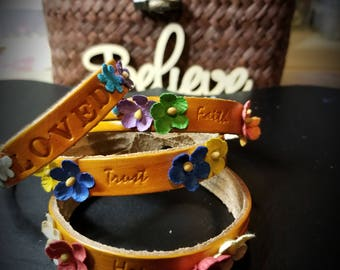 Boho Leather Bracelets with and inspirational Message