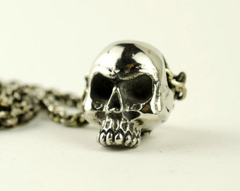 Anatomical Human Skull Necklace Skull Jewelry White Bronze Pendant with Gothic Steampunk Chain - FPE002