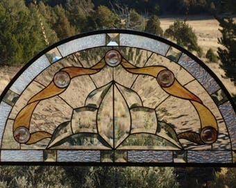 """stained glass window panel""""BEVELED HARMONY""""beveled glass, stained glass arch, arched stained glass, antique glass, cast glass,30 1/2x 15 5/8"""