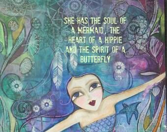 Dream Catcher  Mermaid 12x12 Art PRINT