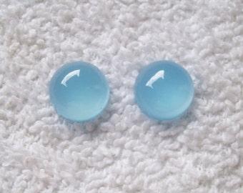 2 pieces Pair 8mm AQUA BLUE chalcedony ROUND Cabochon gemstone..... beautiful aqua blue color...