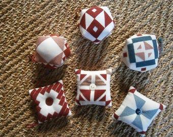 6 biscornus or pin cushions