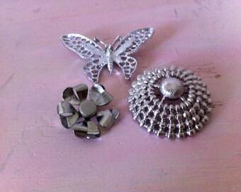 Vintage Silvertone Brooch Lot Pins Sarah Coventry Sarah Cov Monet