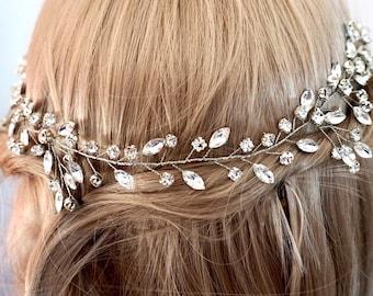 Bridal hair vine, wedding hair vine, Crystal vine, bridal hair vine crystal silver, silver wedding accessories, gold bridal hair vine