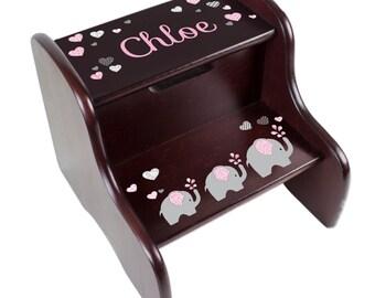 Personalized Elephant STEP Stool Custom Stepstool for Elephants Nursery Stool Dark Espresso for Baby Girls Boys & Toddlers gift FIXE-esp-303