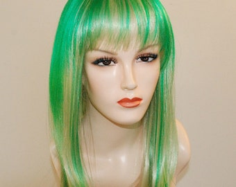 Special sale **  Green highlights on light blonde wig