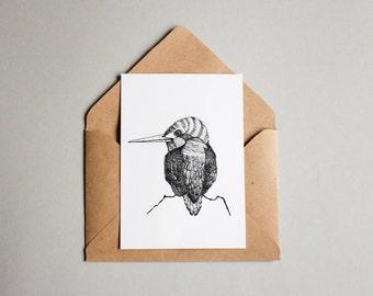 Kingfisher print A6 wall art, black and white, linework, interior wall art, nature print