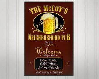 Personalized Neighborhood Bar Sign, Green or Burgundy Man Cave Pub Sign, Custom Beer Sign, Man Cave Bar Decor