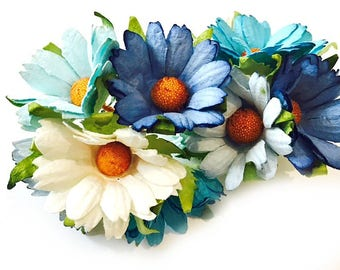 5 x Beautiful Mulberry Paper Chrysanthemum Flowers -  Blue/Turquoise White 45mm
