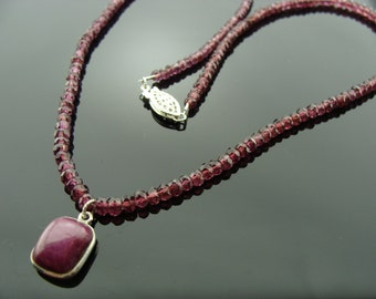 Genuine Ruby and Garnet Sterling Silver Necklace