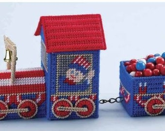Vintage 4th of July Decorative Patriotic All American Candy Train Decoration  7 Ct Plastic Canvas Pattern/ Digital Download Pattern