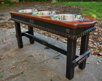Old English Stained Top Elevated Pet Feeder, Raised, Large Dogs, Pet Feeding Station, Black Distressed Base, 3 Two Qt. Bowls, Made to Order