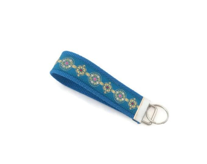 Stocking Stuffer - Peacock Blue Key Ring - Bling - Gift for Her - Gift Under 10