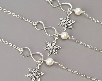 Bridesmaid Jewelry SET OF 3 Snowflake Bracelets for Bridesmaids - Pearl Bridesmaid Bracelets - Gifts for Bridesmaids