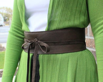 Leather Obi Belt - Genuine Leather - Brown Obi - Wrap Belt - Handmade Belt - Style - Slimming Effect - Quality Look and Feel