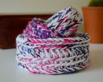Round Crochet Nesting Baskets, Crochet Basket, Nesting Baskets, Storage Baskets, Basket Set, Ready to Ship