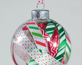 Festive Ribbon Ball Christmas Ornament