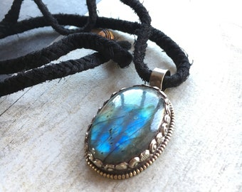 Big Labradorite ethnic look powerful pendant.