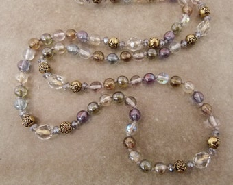 "Handknotted Long Bead Necklace - Layering Necklace ""Gavotte in D Major"" - Item 1582"