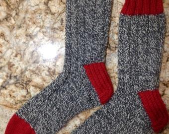 Hand Knit Women's XL or Men's LARGE 100% Wool Heavy Boot, Hiking, Skiing, Snowboarding Socks (B-066)