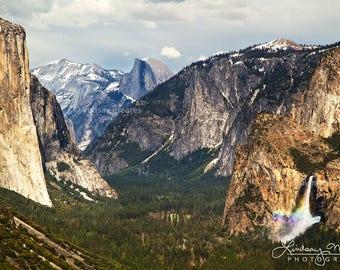 "Yosemite Photo | ""Classic Yosemite View"" | Yosemite Fine Art Print - Yosemite Wall Art - Yosemite National Park Rainbow Waterfall Print"
