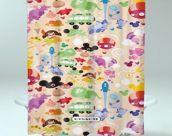 Coach Disney Wallpaper Pattern Art SHOWER CURTAIN <Print On POLYESTER>