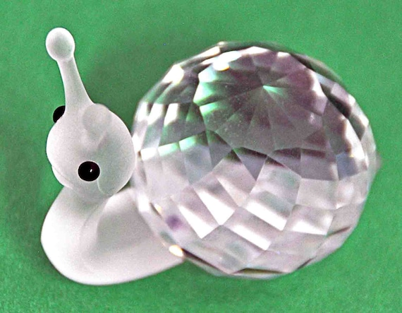 Vintage c1986 SWAROVSKI CRYSTAL SNAIL Figurine 'In a Summer Meadow' Collection by Designer Michael Stamey No Box Excellent Condition