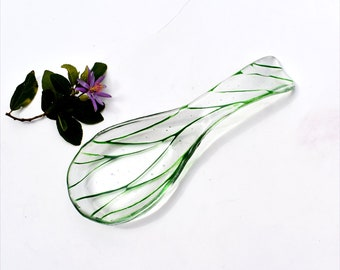 Fused glass spoon rest or dish in clear with green lines