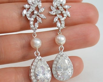 Bridal Cubic Zirconia Crystal Stud Earrings, Swarovski Pearls, Silver Drop Earrings, Wedding Jewelry, Fiona - Ships in 1-3 Business Days