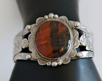 30's Fred Harvey era stamped sterling red jasper Native American cuff, big 925 silver Navajo thunderbird railroad jewelry statement bracelet